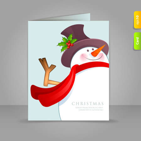 Vector illustration of Gift card with funy snowman Vector