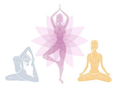pregnant woman yoga: Vector illustration of Beautiful woman doing youga exercises Illustration