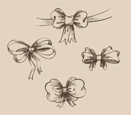 illustration of Vintage hand-drown bow set Stock Vector - 16439735