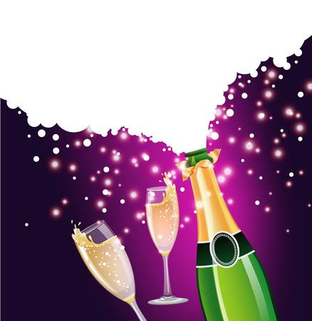 champagne bubbles: illustration of Champagne bottle and glass