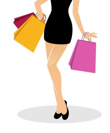 life style: illustration of Shopping girl