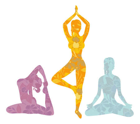 wellness background:  illustration of Beautiful woman doing yoga exercises Illustration