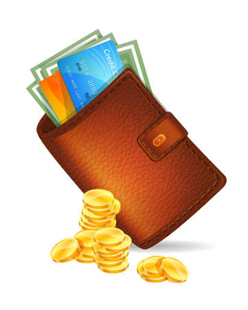 bank transfer:  illustration of Wallet with banknotes