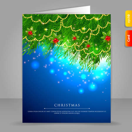 illustration of Gift card with Xmas branch Vector