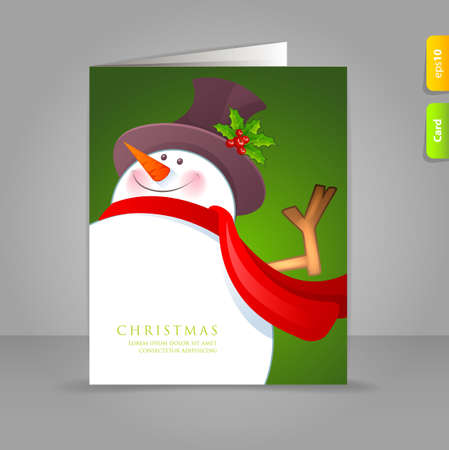 illustration of Christmas Snowman with red scarf Vector