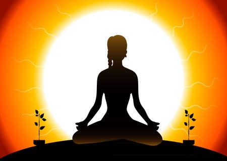 wellness environment:  illustration of Beautiful woman doing youga exercises