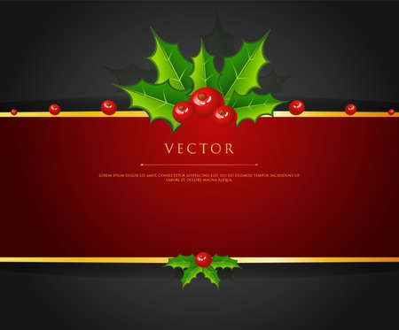 illustration of Holly christmas branch back Vector