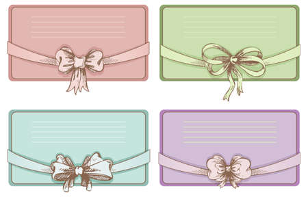 illustration of Vintage hand-drown bow set Vector