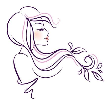 花を持つ美しい女性のイラスト  イラスト・ベクター素材