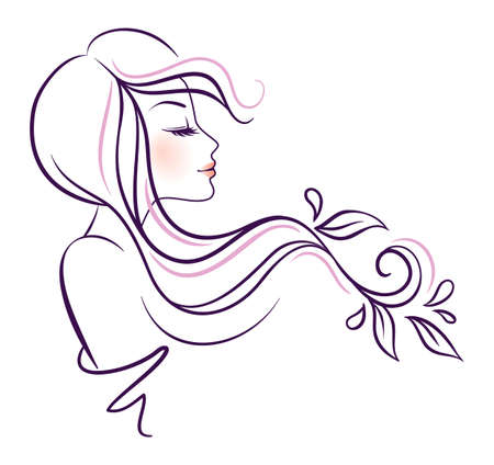 꽃과 함께 아름 다운 여자의 그림 일러스트