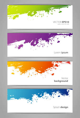 brush paint: Vector illustration of Set of color stickers with splash