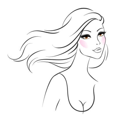 illustration of Beautiful woman pic Vector