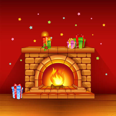 christmas fireplace: Fireplace with candles and gifts on red background Illustration