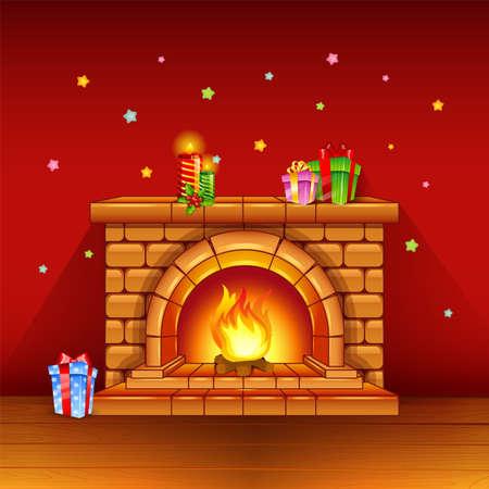 Open haard met kaarsen en geschenken op rode achtergrond