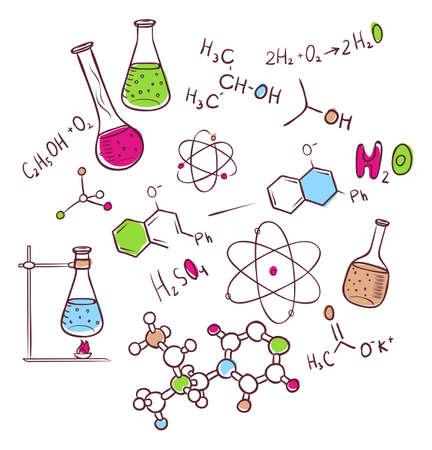 quimica organica: Ilustraci�n del vector del drenaje de la mano de fondo qu�mica