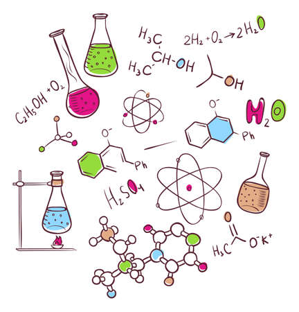 Vector illustratie van de hand trekt chemie achtergrond