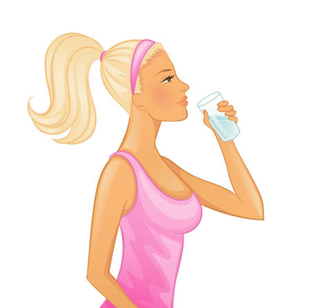 Illustration of Young woman drinking water