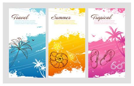 palm computer: Illustration of Color summer set with splash