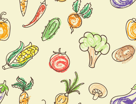 Illustration of Doodle color vegetables seamless pattern Vector