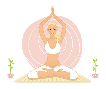 Illustration of Beautiful woman doing yoga exercises Stock Vector - 20866677