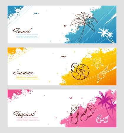 illustration of Color summer set with splash Illustration