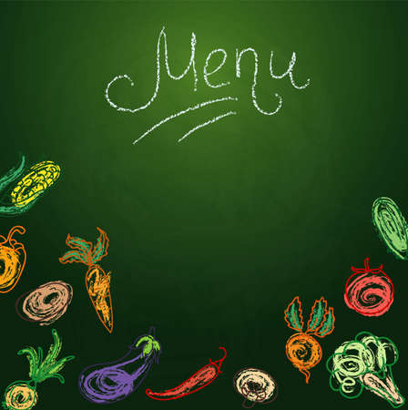 vegetarian:  illustration of Chalkboard with vegetables for restaurant menu