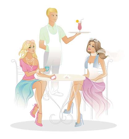 illustratie van twee vrouw in koffiehuis