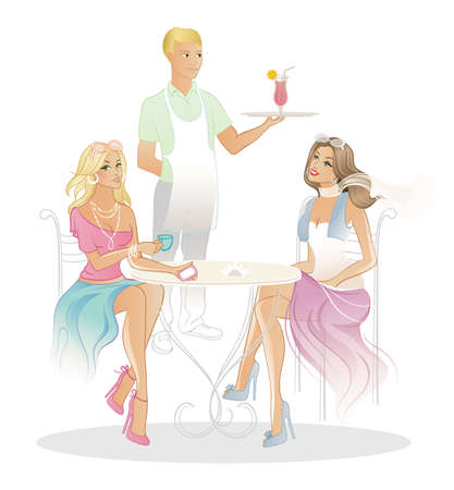 illustration of Two woman in coffee house Illustration