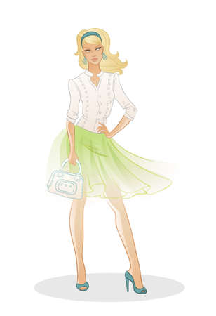 illustration of Beautiful fashion woman with bag
