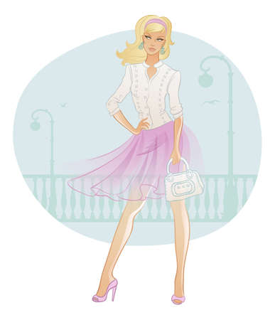 glamour model: Vector illustration of Beautiful fashion woman with bag Illustration