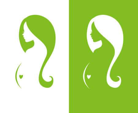 woman: Vector illustration of Silhouette pregnant woman