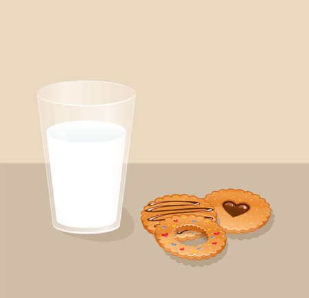 milk and cookies: Vector illustration of Cookies and glass with milk
