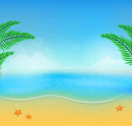 夏のビーチの背景のベクトル イラスト  イラスト・ベクター素材