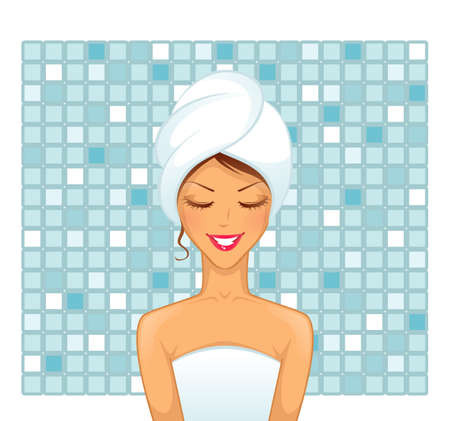 shower: Vector illustration of Young woman in bathroom Illustration