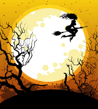 Vector illustration of Halloween background with witch Vector
