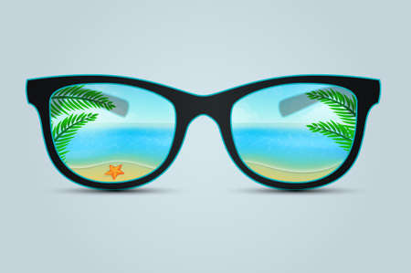 Vector illustration of Summer sunglasses with beach reflection Vector