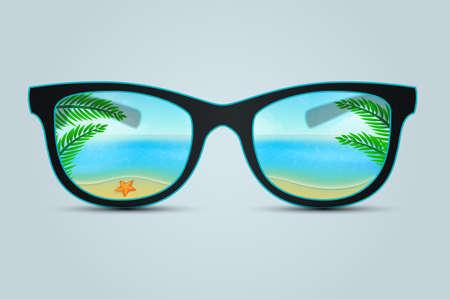sunglasses reflection: Vector illustration of Summer sunglasses with beach reflection Illustration