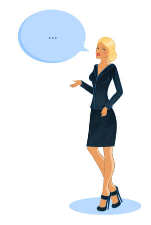 Vector illustration of Speaking business woman Vector