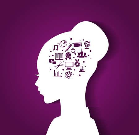 iconos educacion: Ilustraci�n vectorial de la cabeza de la mujer con iconos de educaci�n Vectores