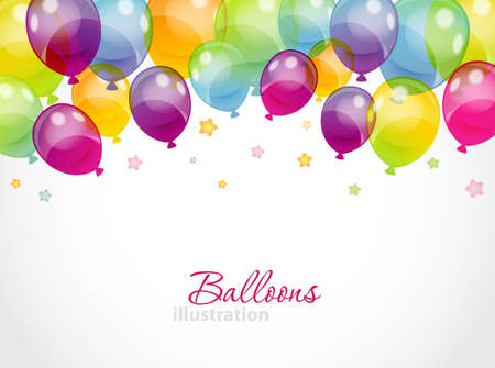 globos de cumpleaños: Ilustración vectorial de fondo con globos de colores Vectores