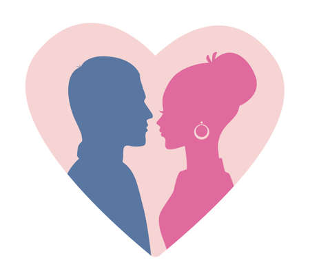woman holding sign: Vector illustration of Man and woman silhouette