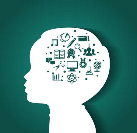 libro caricatura: Ilustración vectorial de la cabeza del niño con iconos de educación