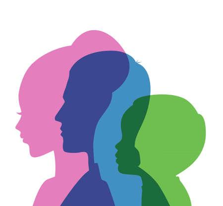 Illustrazione vettoriale di famiglia icone testa Vettoriali