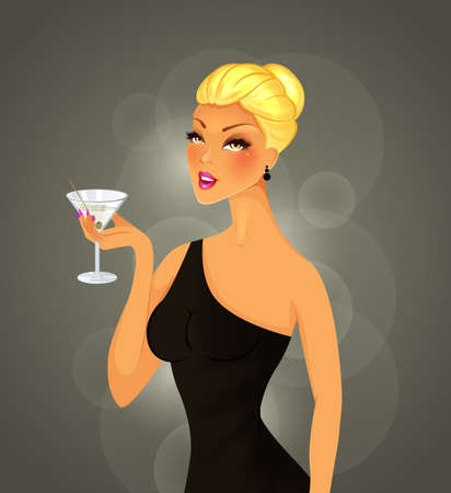 Vector illustration of Beautiful woman with cocktail Vector