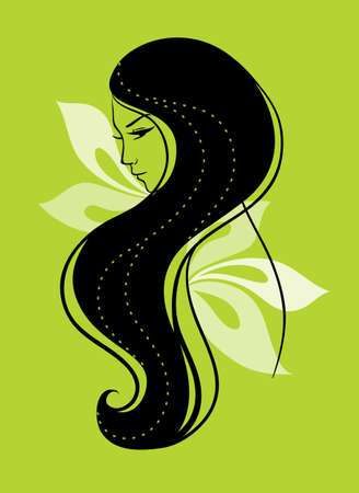 Vector illustration of Beautiful womans silhouette Vector