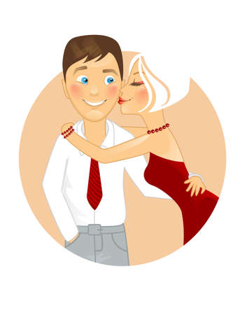 Vector illustration of Kissing couple Vector