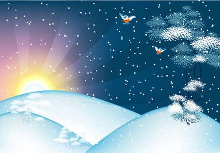 Vector illustration of Winter landscape Vector