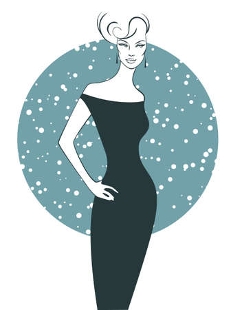 Vector illustration of Woman silhouette in dress Vector