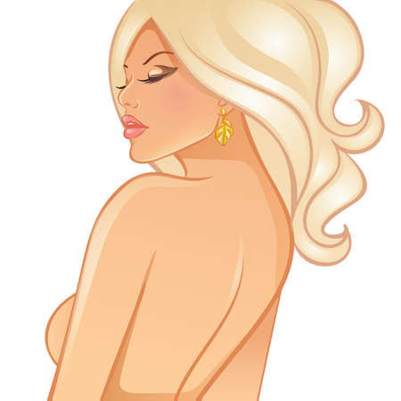 Vector illustration of Beautiful blond woman Vector