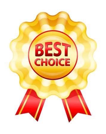 medal ribbon: Vector illustration of Best choice gold label Illustration